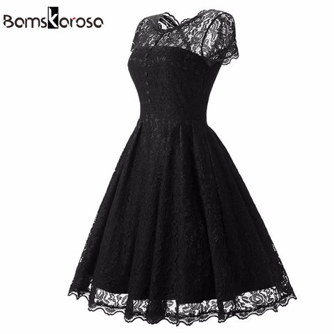 Bamskarosa Women's Vintage O Neck Slim Sexy Pin up Party Black Lace Dress