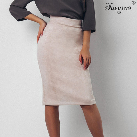 Women Suede Split Thick Stretchy Autumn Winter Sexy Pencil Skirts Plus Size