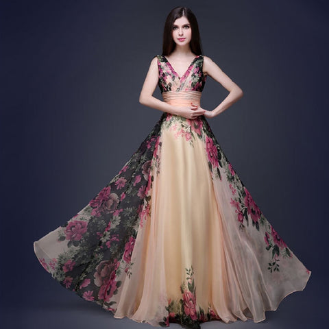Summer Vintage High Waist V-neck Long Dress robe sleeveless Floral Dress