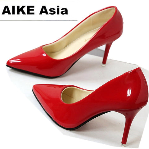 Women Shoes Pointed Toe Pumps Patent Leather Dress Shoes High Heels