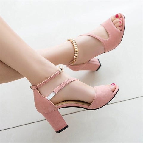 Sexy fish mouth hollow Roman sandals thick high heels female