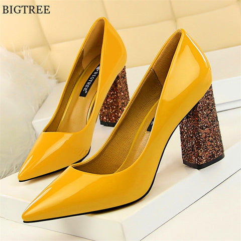 Sequined Cloth Heels Women's Office Shoes Leather Pointed Toe Shallow High Heels