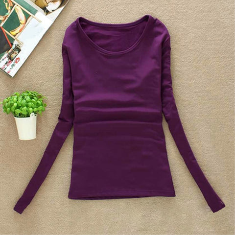 Women's Round Neck Long Sleeve Top Shirt Fashion Sexy Slim Pullover T-shirt