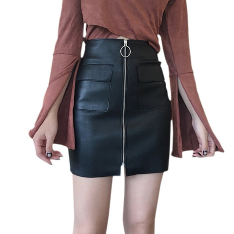 Sexy Zipper Short Skirt Leather A-line High Waist Mini Skirt With Pockets