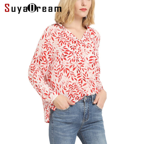 Women Long sleeve SHIRT 100% Real silk Floral Print casual Top Bottoming