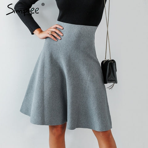 Simplee Elegant A-line knitted women vintage High waist skirt female