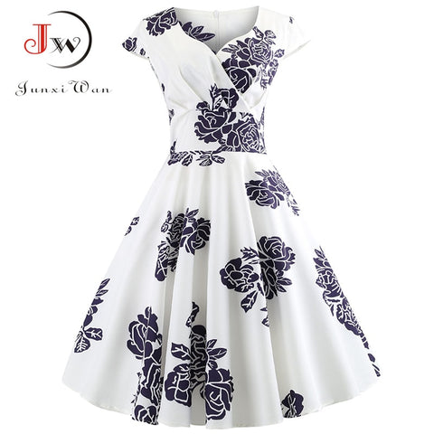 Casual Summer Dress Short Sleeve Hepburn 50s 60s Vintage Elegant Swing Party Dresses