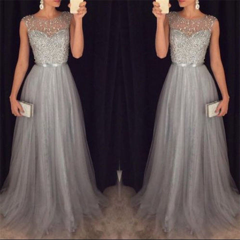 Long Maxi Formal Lace Party Dress Women Elegant Plus Size O-neck Prom Long Dresses