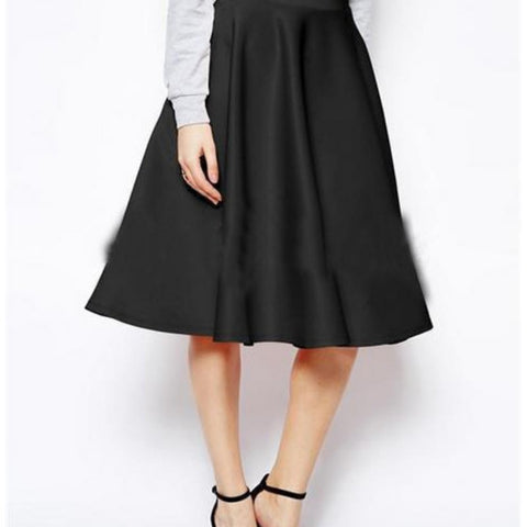 A-Line Skirt High Waist All-match Female Casual Solid Loose Knee-Length