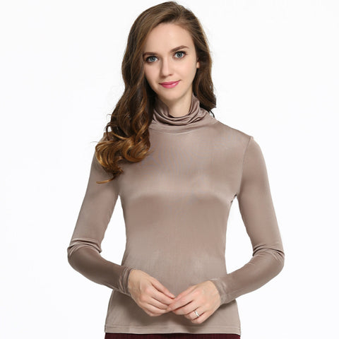 Women pure silk high collar Double knitted comfortably knit sweater long sleeved