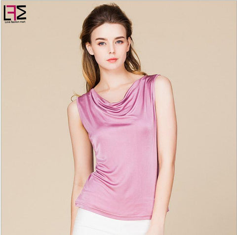 Women Silk t-Shirt Solid Color Sleeveless Pullover Tops Spring Office Wear