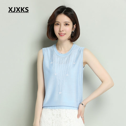XJXKS Vest Women's Sleeveless Loose Round Neck Thin Section T-shirt Korean Knitted Ice Silk
