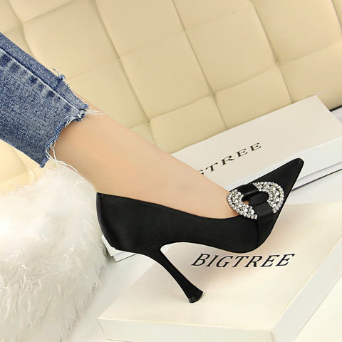 Sexy Fashion Rhinestone Party Wedding Shoes pumps High Heel Shoes Silk Shallow Pointed Toe