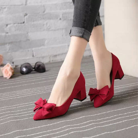 Bow-knot Pure Color Suede Shoes Women High Heels Pumps Flock Pointed Toe