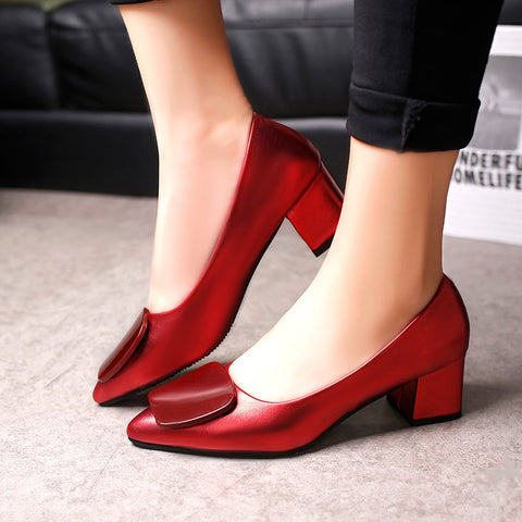 Spring Woman Med Heels Boat Shoes Gun color Pointed Toe Pumps Square Heeled Patent Leather