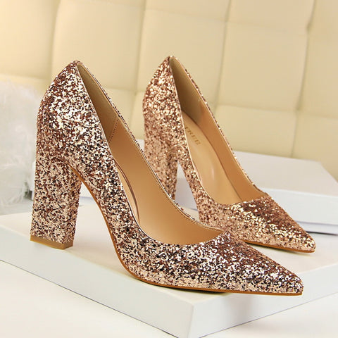 Women pumps luxury design bling high heels party shoes bridal wedding shoes
