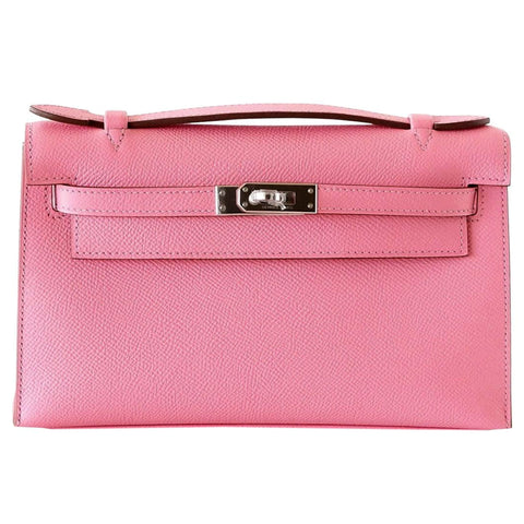 Hermes Kelly Pink Rose Confetti Epsom Leather Clutch Pochette