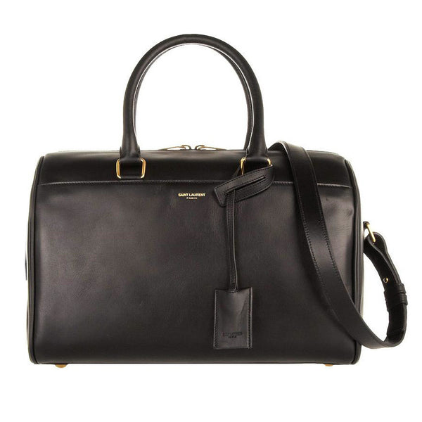 Saint-Laurent Classic Black Leather Duffle Covertible Bag