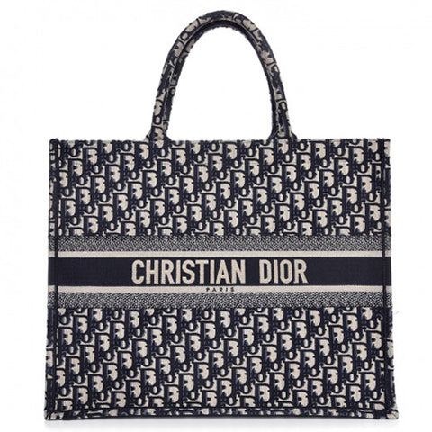 Christian Dior Oblique Canvas Book Tote - Blue