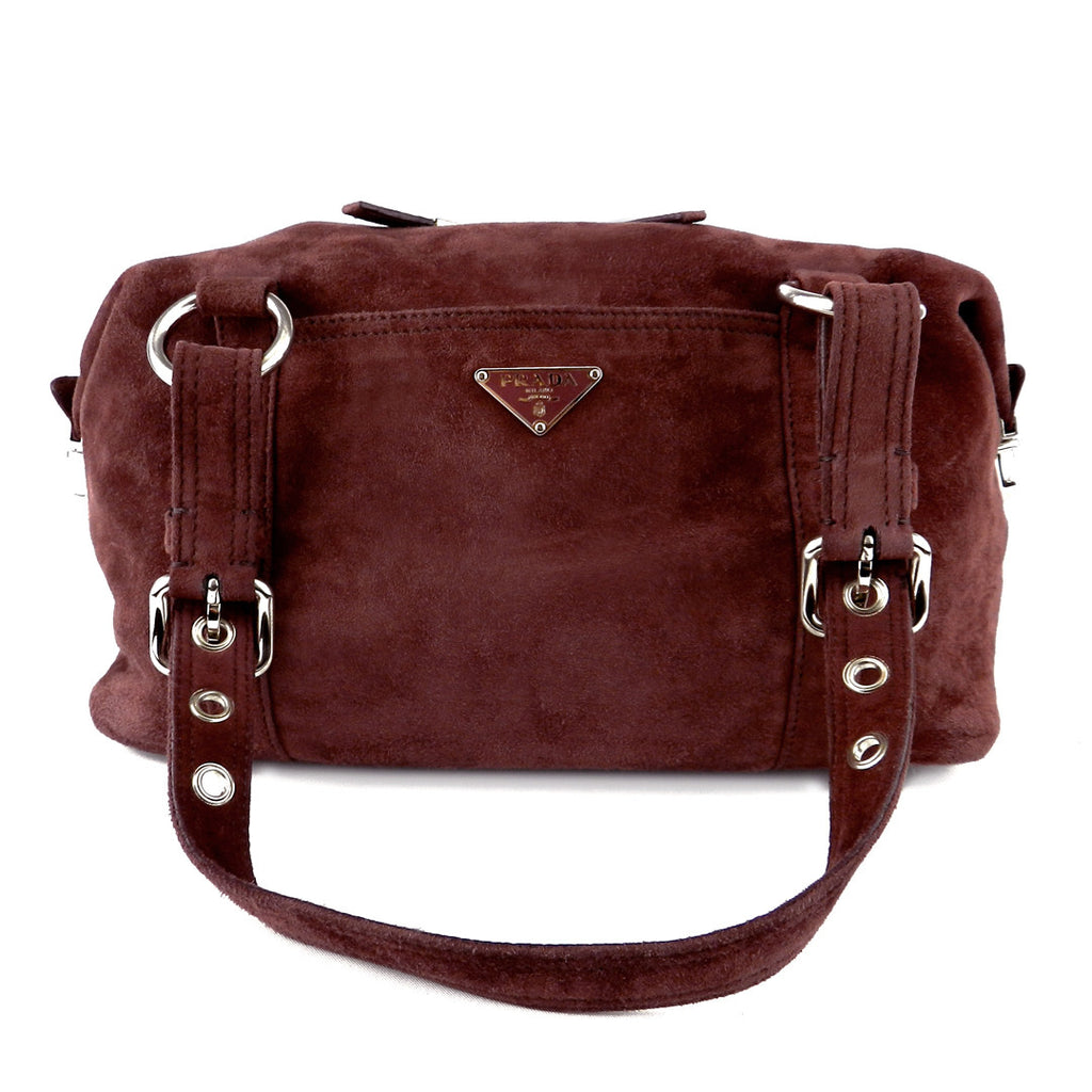 c4b2fd00ce LUXUCA.COM - Prada Soft Plum Suede Shoulder Bag