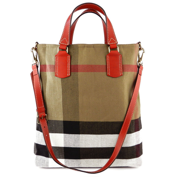 Burberry Check Canvas Medium Tote Bag - NEW