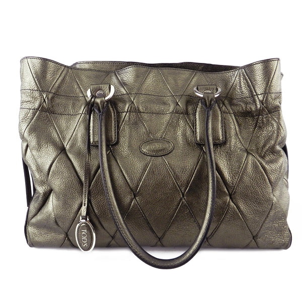 Tod's Metallic Quilted D-Bag Media Tote