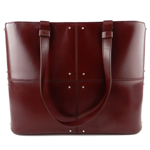 Tod's Structured Burgundy Leather Tote