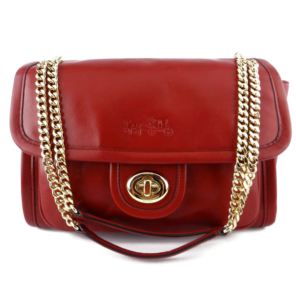 Coach Red Leather Adjustable-Chain Shoulder & Cross Body Bag