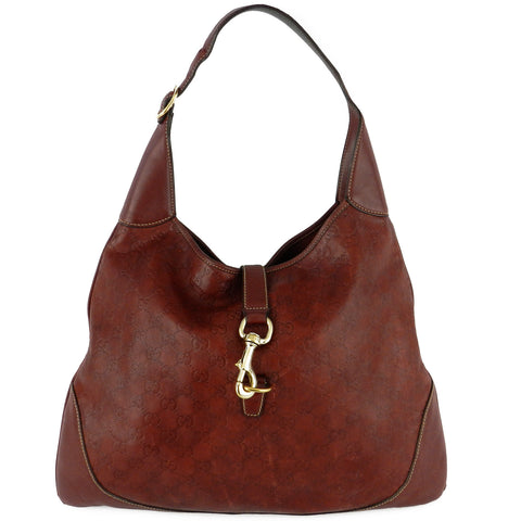 Gucci Guccissima Jackie Large Leather Hobo - Burgundy