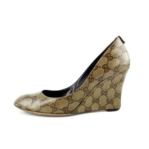 Gucci Crystal Monogram Wedge Pumps sz 8.5