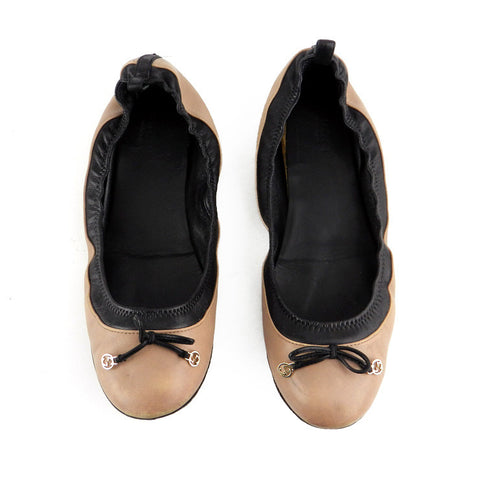 Gucci Stretch Two-Tone Leather Ballet Flats sz 38.5