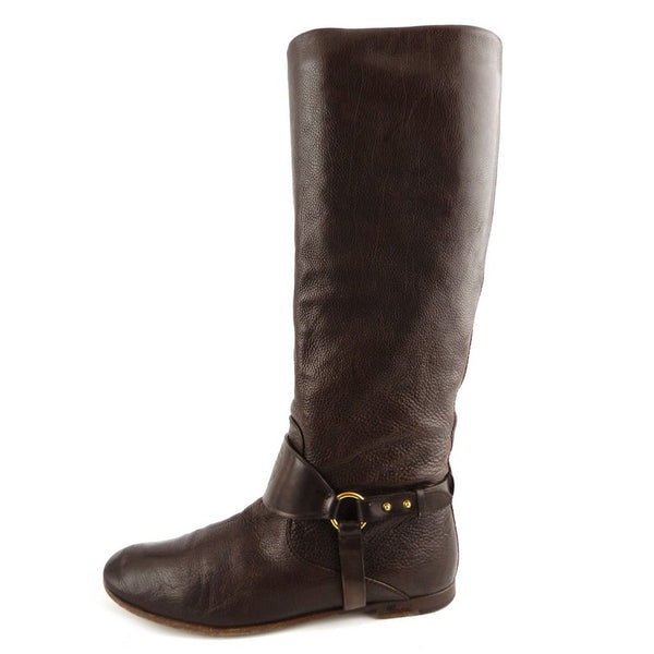Gucci Brown Deerskin Riding Boots sz 37.5