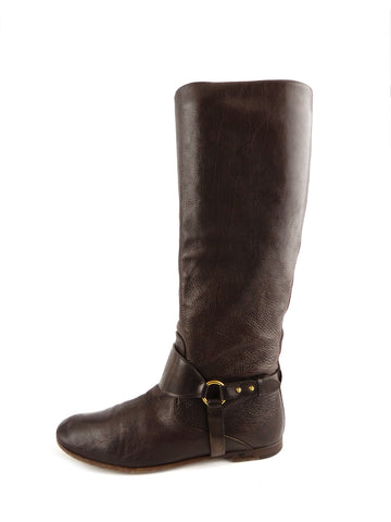 Gucci Deerskin Pebbled Leather Riding Boots sz 37.5