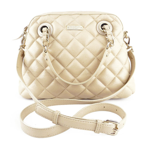 Kate Spade Beige Leather Quilted Two-Way Bag