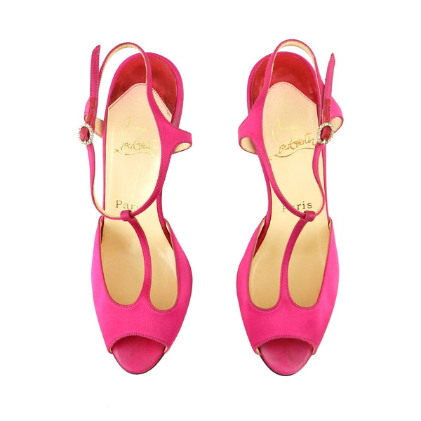 Christian Louboutin Fuchsia Satin Peep-Toe Sandals sz 37 (6 US)