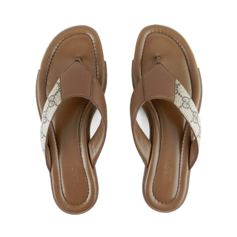 Gucci Taupe Leather & Monogram Flip Flops sz 38