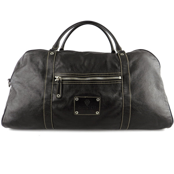 Gucci Large Black Leather Duffle Bag