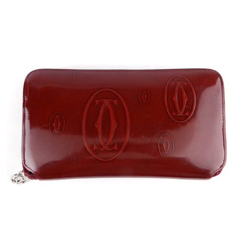 Cartier Bordeaux Red Patent Leather Continental Zip Wallet