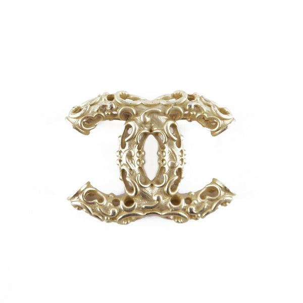 Chanel Baroque CC Champagne Metal Brooch