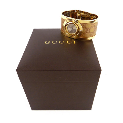 Gucci Gold Twirl Wide Leather Cuff Watch