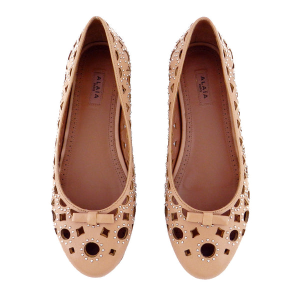 Alaïa Studded Cutout Nude Leather Ballet Flats sz 36