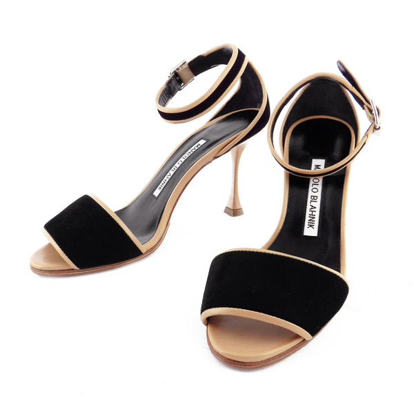 Manolo Blahnik Nude Leather & Black Suede Sandals sz 35