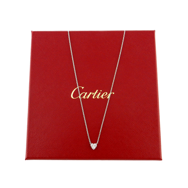 Cartier 18K White Gold & Diamond Heart Necklace