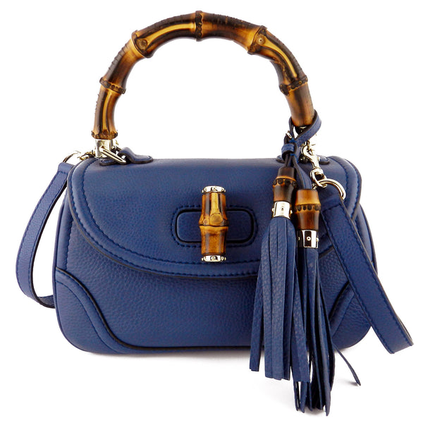 Gucci Blue Leather Bamboo Convertible Satchel