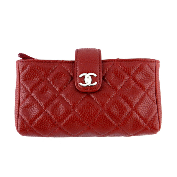 Chanel Red Caviar Small Clutch Case