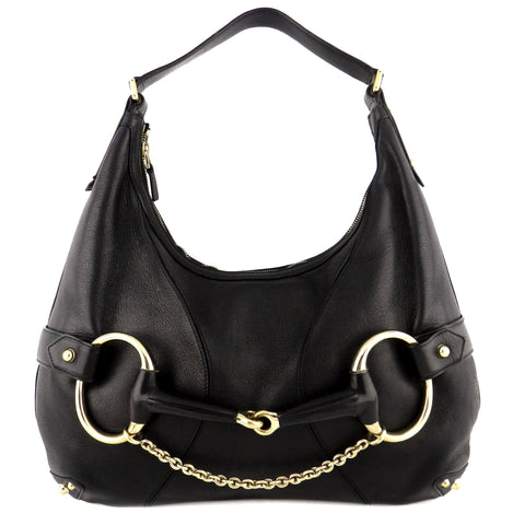 Gucci Black Leather Horsebit Hobo