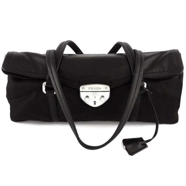 Prada Black Leather and Tussuto Push-Lock Shoulder Bag