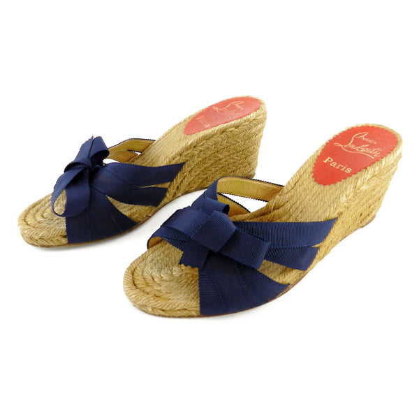 Christian Louboutin Navy Ribbon Wedge Espadilles sz 37 (6 US)