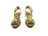 Burberry Gold Haymarket Check Platform Sandals sz 35.5