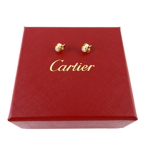 Cartier Spotlight 18K Yellow Gold Diamond Earrings MM